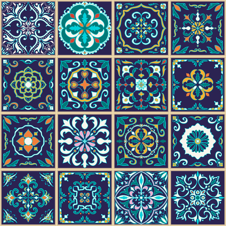 Vector seamless texture. Beautiful patchwork pattern for design and fashion with decorative elements. Set of Portuguese tiles, Azulejo, Talavera, Moroccan ornaments Ilustração