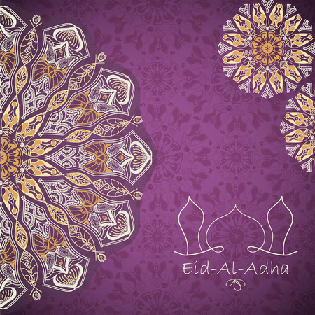 Vector greeting card to Feast of the Sacrifice (Eid-Al-Adha). Congratulations background with text and mandalas patterns Illustration