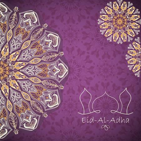 sacrificio: tarjeta de felicitaci�n del vector de Fiesta del Sacrificio (Eid-Al-Adha). fondo de la enhorabuena con patrones de texto y mandalas Vectores