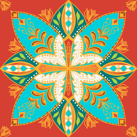 Vector beautiful colored pattern for design and fashion with decorative elements. Portuguese tiles, Azulejo, Talavera, Moroccan ornaments in blue and orange colors