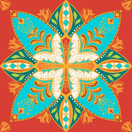 talavera: Vector beautiful colored pattern for design and fashion with decorative elements. Portuguese tiles, Azulejo, Talavera, Moroccan ornaments in blue and orange colors