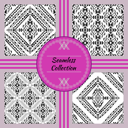 Vector seamless texture. Set of black and white tribal geometric patterns. Aztec ornamental style. Ethnic native american indian ornaments