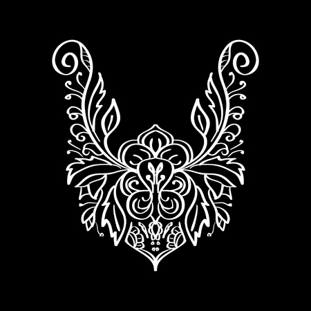 neckline: Vector floral neckline design for fashion. Flowers and leaves neck print. Chest lace embellishment. Ethnic indian ornament