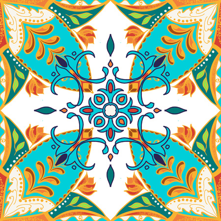 Vector beautiful colored pattern for design and fashion with decorative elements. Floral ethnic bandana. Portuguese tiles, Azulejo, Talavera, Moroccan ornaments in blue and orange colors