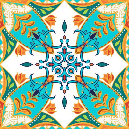 talavera: Vector beautiful colored pattern for design and fashion with decorative elements. Floral ethnic bandana. Portuguese tiles, Azulejo, Talavera, Moroccan ornaments in blue and orange colors