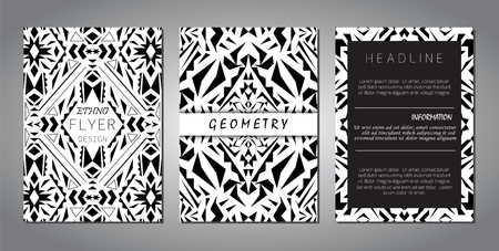 ethno: Set of vector geometric black and white brochure templates for business and invitation. Ethnic, tribal, aztec style. Modern ethno ikat pattern