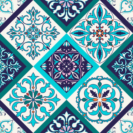 azulejo: Vector seamless texture. Beautiful colored pattern for design and fashion with decorative elements. Portuguese tiles, Azulejo, Talavera, Moroccan ornaments in blue and orange colors