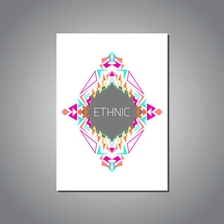 ethno: Vector geometric colorful brochure template for business and invitation. Ethnic, tribal, aztec style. A4 layout format. Modern ethno ikat pattern