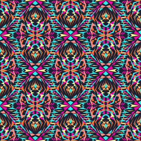 ethno: Vector seamless texture. Tribal geometric pattern. Electro boho color trend. Aztec ornamental style. Ethnic native American Indian ornaments