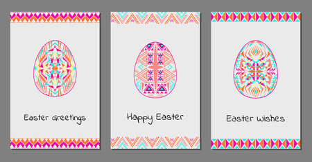 Vector set of Happy Easter cards with easter egg and tribal geometric borders. Ethnic theme. Native American Indian ornaments