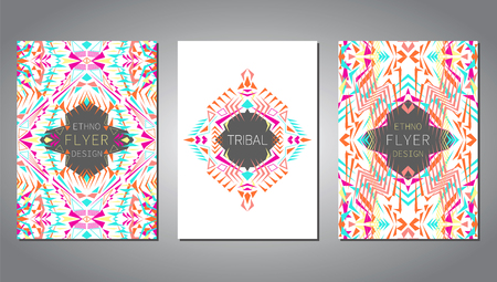 ethno: Vector set of geometric colorful brochure template for business and invitation. Ethnic, tribal, aztec style. A4 layout format. Modern ethno ikat pattern