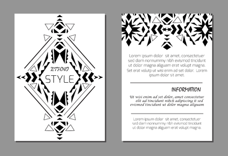 ethno: Set of vector geometric black and white brochure templates for business and invitation. A4 layout format. Ethnic, tribal, aztec style. Modern ethno ikat pattern
