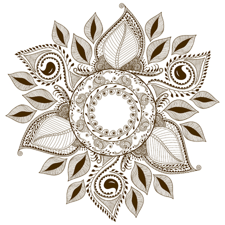 henna design: Vector floral mandala in indian style. Mehndi ornamental flower. Hand drawn ethnic pattern. Floral ornament for henna design