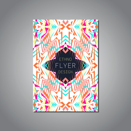 ethno: Vector geometric colorful brochure template for business and invitation. Ethnic, tribal, aztec style. Modern ethno ikat pattern