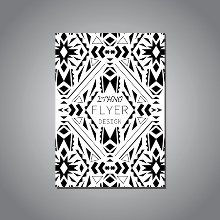 Vector geometric black and white brochure template for business and invitation. Ethnic, tribal, aztec style. Modern ethno ikat pattern Illustration