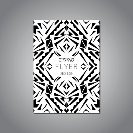 ethno: Vector geometric black and white brochure template for business and invitation. Ethnic, tribal, aztec style. Modern ethno ikat pattern Illustration