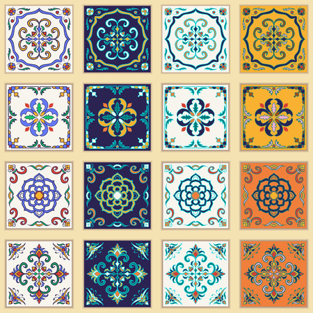azulejos: Vector set of Portuguese tiles. Beautiful colored patterns for design and fashion.  Azulejo, Talavera, Moroccan ornaments in four different color combination