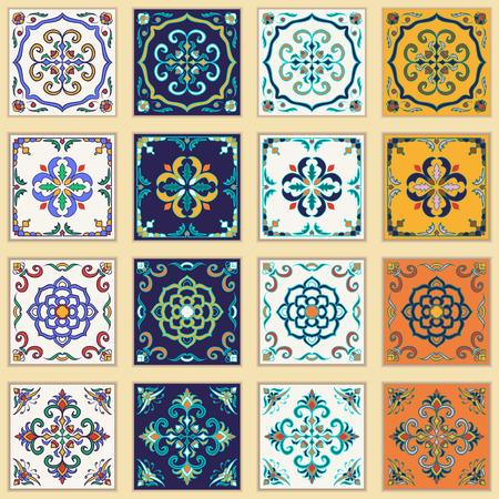 azulejos: Vector set of Portuguese tiles. Beautiful colored patterns for design and fashion.  Azulejo, Talavera, Moroccan ornaments in four different color combination