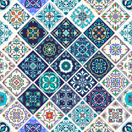 Vector seamless texture. Beautiful patchwork pattern for design and fashion with decorative elements. Portuguese tiles, Azulejo, Talavera, Moroccan ornaments