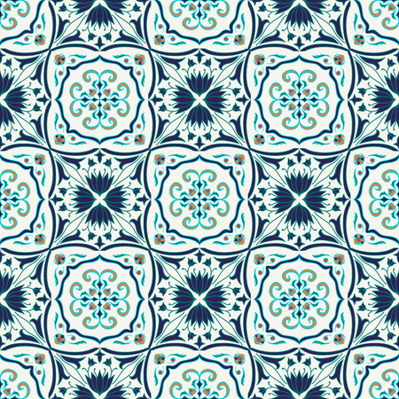 Vector seamless texture. Beautiful colored pattern for design and fashion with decorative elements. Portuguese tiles, Azulejo, Talavera, Moroccan ornaments 向量圖像
