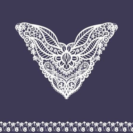 neckline: Vector floral neckline and lace border design for fashion. Flowers and leaves neck print. Chest lace embellishment. Ethnic indian ornament