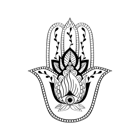 good and evil: Vector sacred sign - hamsa hand, hand of Fatima. Indian hand drawn ethnic ornament. Amulet, protection of evil, good luck symbol