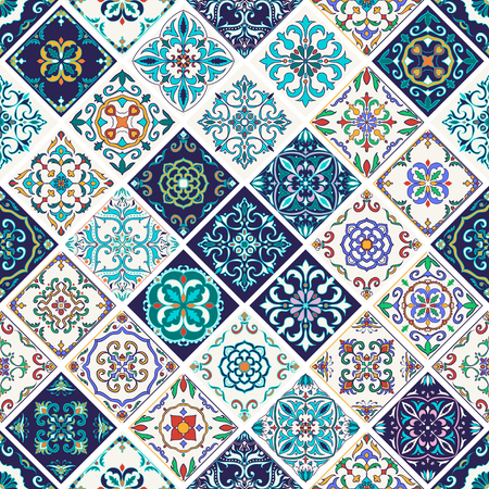 azulejo: Vector seamless texture. Beautiful patchwork pattern for design and fashion with decorative elements. Portuguese tiles, Azulejo, Talavera, Moroccan ornaments