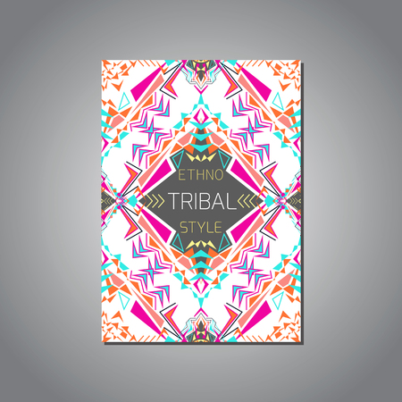 ethno: Vector geometric colorful brochure template for business and invitation. Ethnic, tribal, aztec style. A4 format. Modern ethno ikat pattern