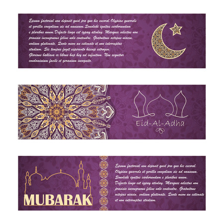 feast: Vector set of invitation cards or horizontal banners to Feast of the Sacrifice (Eid-Al-Adha). Greeting backgrounds with text, muslim symbols and mandalas patterns