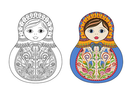 matrioshka: Vector coloring book for adult and kids - russian matrioshka doll. Hand drawn zentangle with floral and ethnic ornaments. Page for relax and meditation with example for choice of colors Illustration