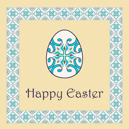 azulejo: Vector Happy Easter background with easter egg and decorative frame. Portuguese, Azulejo, Talavera, Moroccan ornaments in blue colors Illustration