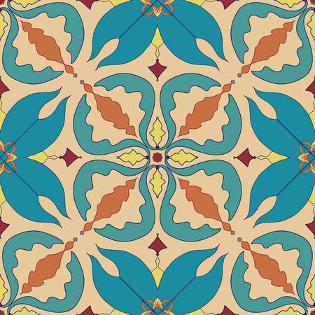 talavera: Vector seamless texture. Beautiful colored pattern for design and fashion with decorative elements. Portuguese tiles, Azulejo, Talavera, Moroccan ornaments in blue and orange colors