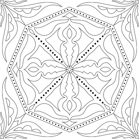 talavera: Vector coloring book for adult. Square page for relax and meditation. Black and white mandala pattern with azulejos floral ornament. Portuguese, Talavera, Moroccan, Ottoman floral and geometric motifs