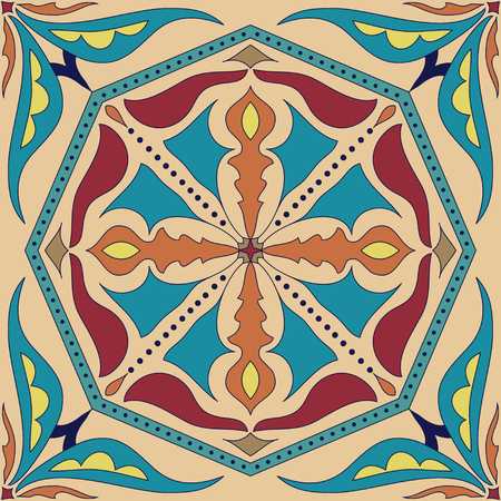 azulejos: Vector square mandala pattern as example for coloring book for adults. Page for relax and meditation. Portuguese tile for ceramic. Azulejos, Talavera, Moroccan, Ottoman floral and geometric motifs