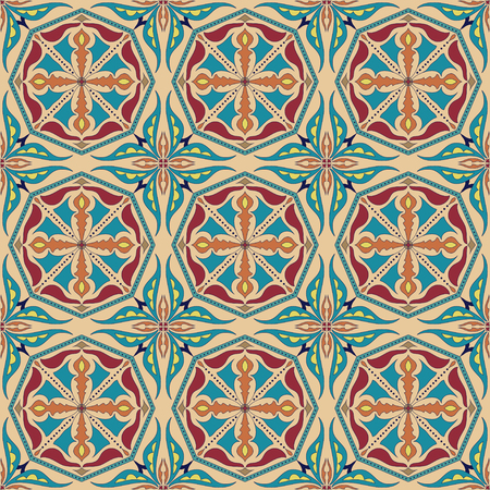 talavera: Vector seamless texture. Beautiful colored pattern for design and fashion with decorative elements. Portuguese tiles, Azulejo, Talavera, Moroccan ornaments in blue and orange colors