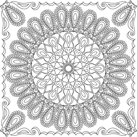 talavera: Vector coloring book for adult. Square page for relax and meditation. Black and white mandala pattern with ethnic indian ornament. Asian, Mexican, Talavera, Ottoman motifs for design and fashion Illustration