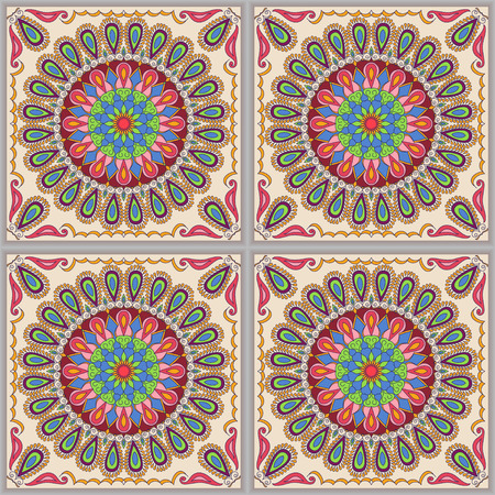 talavera: Vector seamless texture. Beautiful colored pattern for design and fashion with decorative elements. Mexican tiles, Asian, Talavera, Moroccan ornaments in bright colors Illustration
