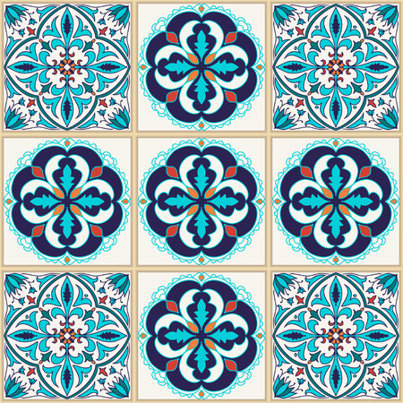 Vector seamless texture. Beautiful colored pattern for design and fashion with decorative elements. Portuguese tiles, Azulejo, Talavera, Moroccan ornaments in blue colors