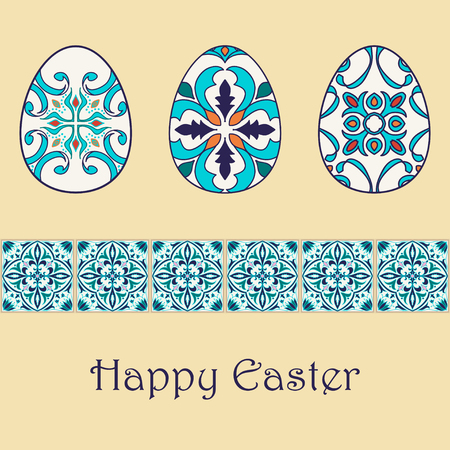 azulejos: Set of vector isolated easter eggs with beautiful azulejos ornaments. Happy Easter background with decorative border. Portuguese, Azulejo, Talavera, Moroccan ornaments in blue colors