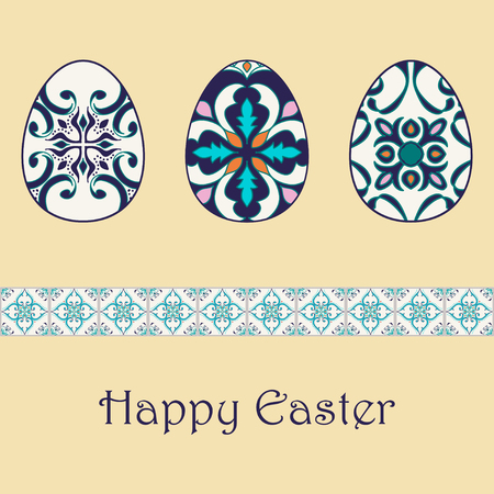 talavera: Set of vector isolated easter eggs with beautiful azulejos ornaments. Happy Easter background with decorative border. Portuguese, Azulejo, Talavera, Moroccan ornaments in blue colors