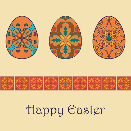azulejos: Set of vector isolated easter eggs with beautiful azulejos ornaments. Happy Easter background with decorative border. Portuguese, Azulejo, Talavera, Moroccan ornaments in orange colors Illustration