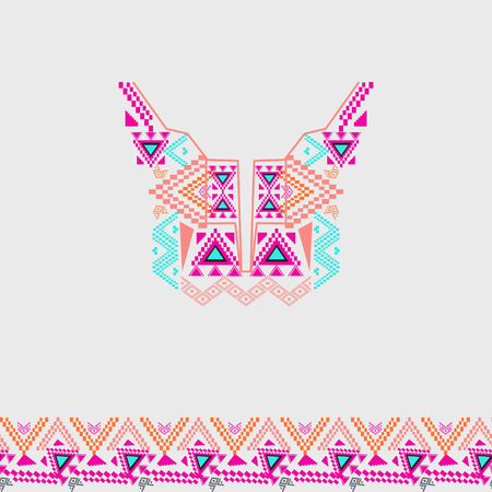 neckline: Neckline design with border in ethnic style for fashion. Aztec neck print. Electro boho color trend. Vector tribal embellishment. Ethnic native American Indian ornaments