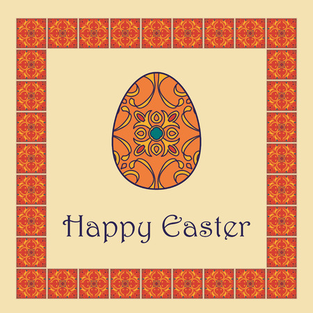 talavera: Vector Happy Easter background with easter egg and decorative frame. Portuguese, Azulejo, Talavera, Moroccan ornaments in orange colors Illustration