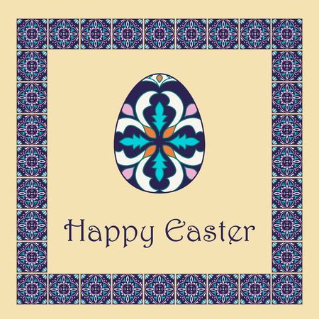 talavera: Vector Happy Easter background with easter egg and decorative frame. Portuguese, Azulejo, Talavera, Moroccan ornaments in blue colors Illustration