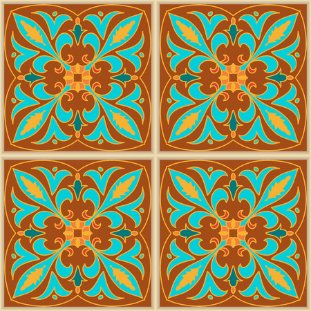 Vector seamless texture. Beautiful colored pattern for design and fashion with decorative elements. Portuguese tiles, Azulejo, Talavera, Moroccan ornaments in blue and brown colors Illustration