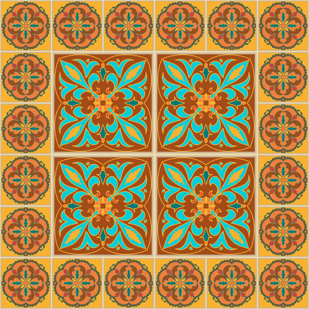 azulejo: Vector seamless texture. Beautiful colored pattern for design and fashion with decorative elements. Portuguese tiles, Azulejo, Talavera, Moroccan ornaments in blue and brown colors Illustration