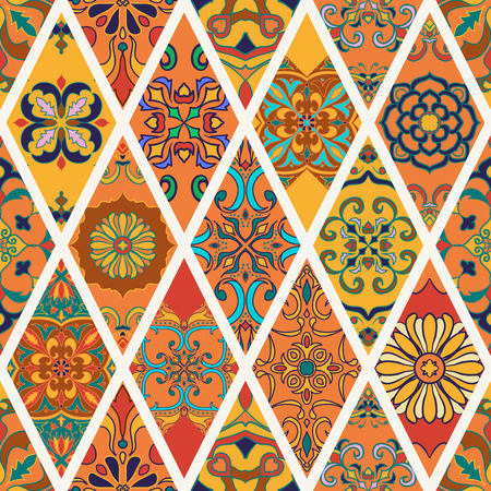Vector seamless texture. Beautiful patchwork pattern for design and fashion with decorative elements in rhombus. Portuguese tiles, Azulejo, Talavera, Moroccan ornaments