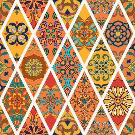 Textura inconsútil del vector. patrón de mosaico hermoso para el diseño y la moda con elementos decorativos en rombo. azulejos portugueses, Azulejo, Talavera, adornos marroquíes