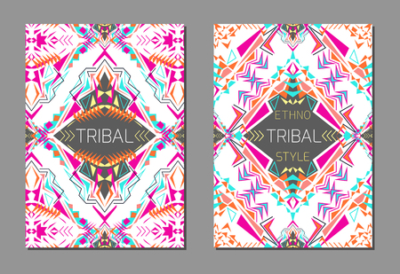 ethno: Vector set of geometric colorful brochure templates for business and invitation. Ethnic, tribal, aztec style. A4 format. Modern ethno ikat pattern Illustration
