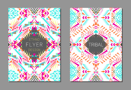 Vector set of geometric colorful brochure templates for business and invitation. Ethnic, tribal, aztec style. A4 format. Modern ethno ikat pattern Illustration